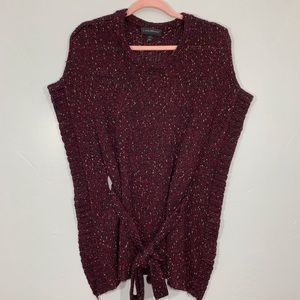Lane Bryant | Maroon Speckled Tie Waist Sweater